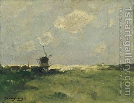 A Windmill In The Dunes by Jan Hendrik Weissenbruch - Reproduction Oil Painting