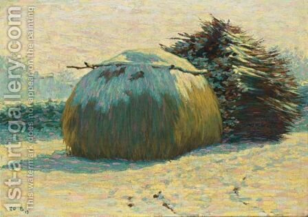 A Haystack In The Snow by Co Breman - Reproduction Oil Painting