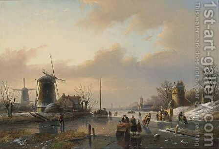 A Winter Landscape With Figures On A Frozen River by Jan Jacob Coenraad Spohler - Reproduction Oil Painting