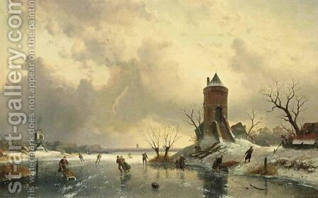 Skating In The Late Afternoon by Charles Henri Leickert - Reproduction Oil Painting
