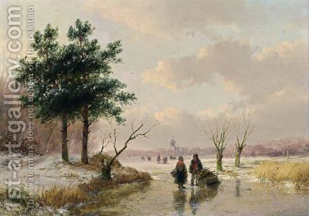 A Winter Landscape With Figures On A Frozen River by Andreas Schelfhout - Reproduction Oil Painting