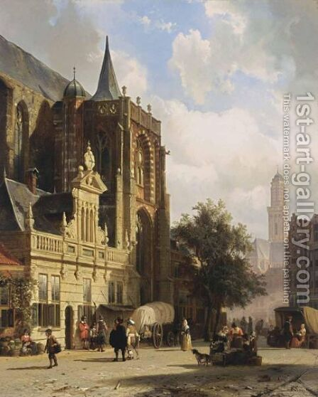 A View Of The Grote Markt, Zwolle by Cornelis Springer - Reproduction Oil Painting