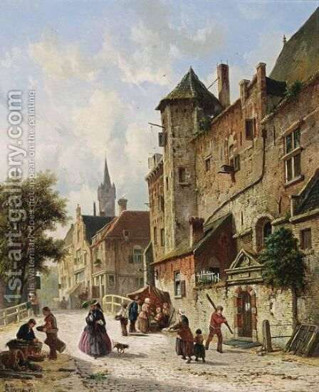 Villagers In The Streets Of A Dutch Town 3 by Adrianus Eversen - Reproduction Oil Painting