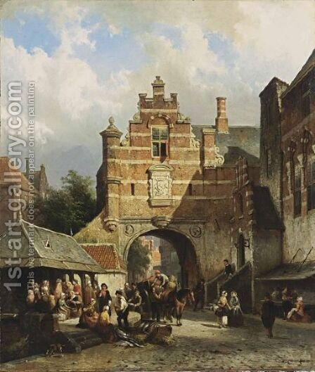 A Fishmarket In A Dutch Town by Cornelis Springer - Reproduction Oil Painting