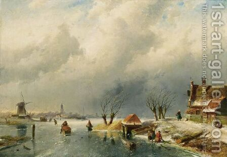 Skaters On A Frozen Waterway 2 by Charles Henri Leickert - Reproduction Oil Painting