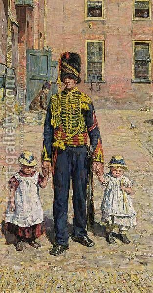 A Soldier With Two Children by Isaac Israels - Reproduction Oil Painting