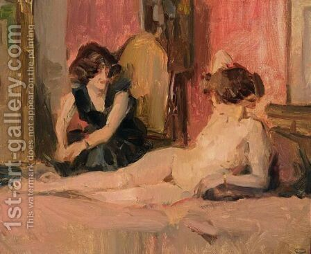 In The Artist A's Studio by Isaac Israels - Reproduction Oil Painting