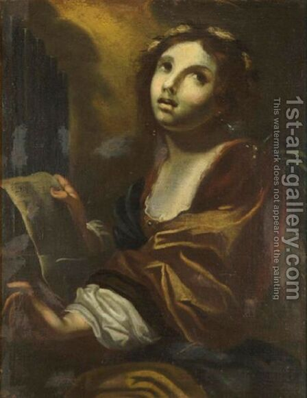 Portrait Of St. Cecilia by (after) Simone Pignoni - Reproduction Oil Painting