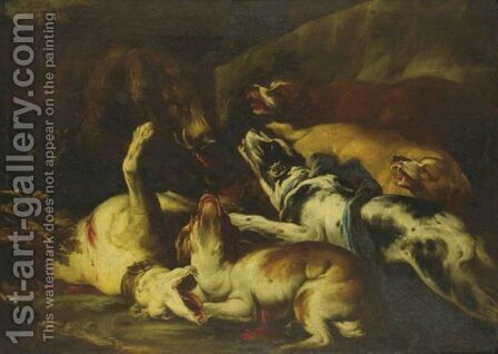 A Boar Hunt by (after) Frans Snyders - Reproduction Oil Painting
