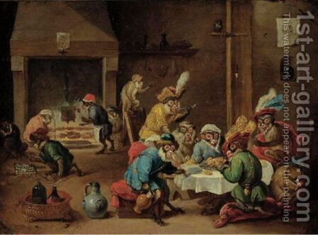 Interior With Monkeys Seated Around A Table, Others In The Background by (after)  David The Younger Teniers - Reproduction Oil Painting