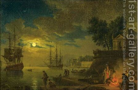Figures In A Harbor By Night by (after)  Claude-Joseph Vernet - Reproduction Oil Painting