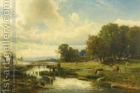 Cattle At Pasture by Gustaf Fredrik Rydberg - Reproduction Oil Painting