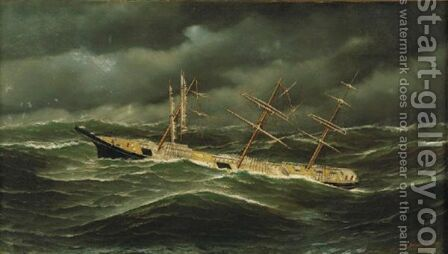 American Ship L. Schepp In A Typhoon Off Bellona Reef, New Caledonia by Antonio Nicolo Gasparo Jacobsen - Reproduction Oil Painting