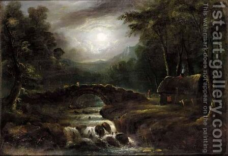 Moonlit River Landscape by (after) Sebastian Pether - Reproduction Oil Painting