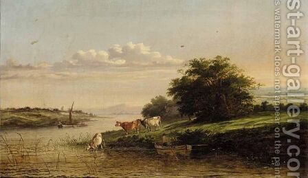 River Landscape With Cattle Watering by (after) Henry John Boddington - Reproduction Oil Painting