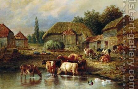 Farmyard Scene With Cattle Watering by Henry Charles Bryant - Reproduction Oil Painting