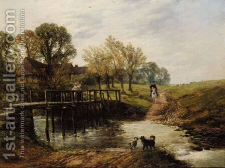 Crossing The Brook by (after) Thomas Creswick - Reproduction Oil Painting