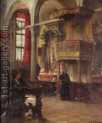 The Interior Of St.Peter Martyr, Murano Venice by Henry Woods - Reproduction Oil Painting