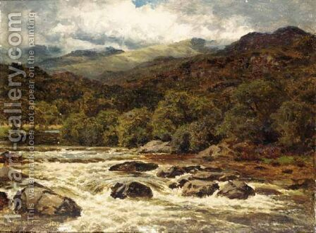 River Landscape by Benjamin Williams Leader - Reproduction Oil Painting