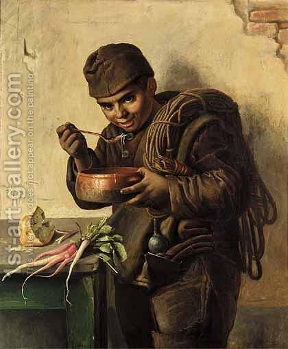 The Hungry Chimney Sweep by Aurelio Zingoni - Reproduction Oil Painting