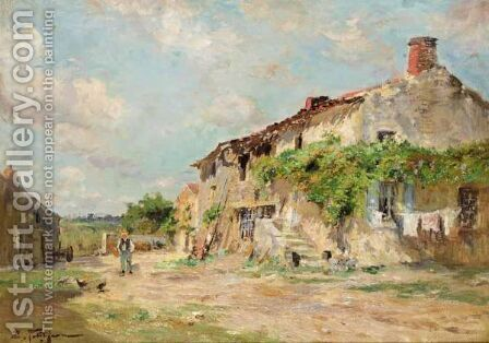The Farmyard by Edmond Marie Petitjean - Reproduction Oil Painting