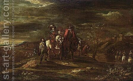 Horsemen In A Landscape by (after) Jacques (Le Bourguignon) Courtois - Reproduction Oil Painting