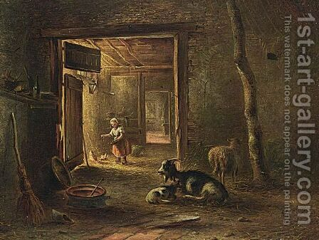 A Stable Interior With A Little Girl Feeding The Chickens by Bernardus Gerardus Ten Berge - Reproduction Oil Painting