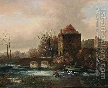 A Winter Landscape by Hermanus Jan Hendrik Rijkelijkhuysen - Reproduction Oil Painting
