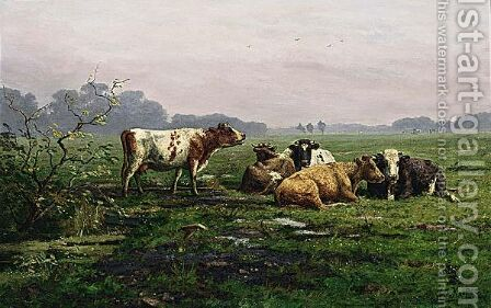 Cattle In A Landscape by Ary Cornelis Kooper - Reproduction Oil Painting
