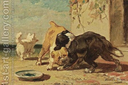 Dogs Playing On A Sunny Afternoon by Henriette Ronner-Knip - Reproduction Oil Painting