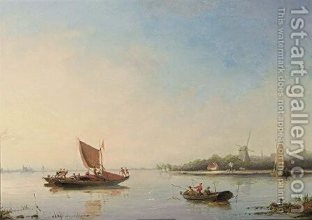 Fishermen In A Calm by Cornelis Christiaan Dommelshuizen - Reproduction Oil Painting