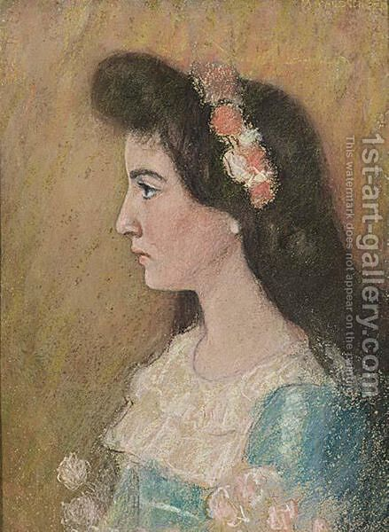 A Portrait Of A Little Girl by Marie Wandscheer - Reproduction Oil Painting