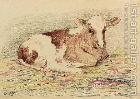 A Resting Calf by Hendricus Alexander Van Ingen - Reproduction Oil Painting