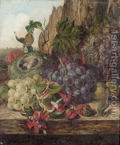 Still Life Of Fruit And Flowers by (after) George Lance - Reproduction Oil Painting