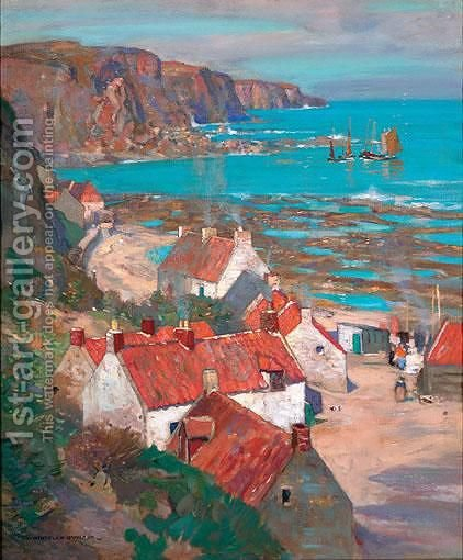 Scottish Fishing Village by James Whitelaw Hamilton - Reproduction Oil Painting
