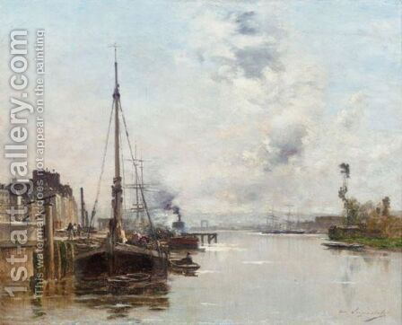 On The Banks Of The Seine by Charles Lapostolet - Reproduction Oil Painting
