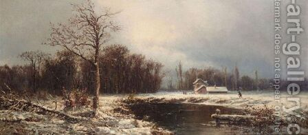 Winter Landscape by Alfred Godchaux - Reproduction Oil Painting