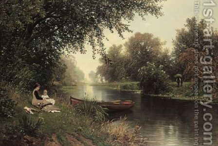 Picnic On The Riverbank by Ascan Lutteroth - Reproduction Oil Painting