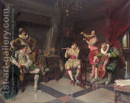 Court Musicians by Bernard Louis Borione - Reproduction Oil Painting