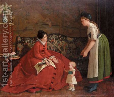 The First Steps by Continental School - Reproduction Oil Painting