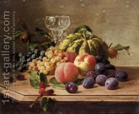 Still Life With Fruit And Pumpkin by Continental School - Reproduction Oil Painting