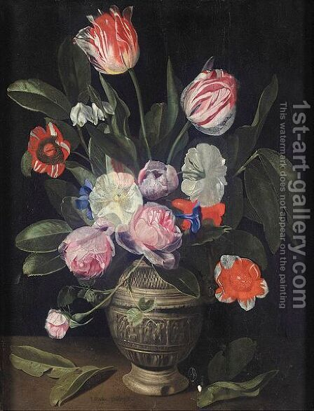 Still Life Of Tulips And Roses In A Stoneware Vase by Jan Philip van Thielen - Reproduction Oil Painting