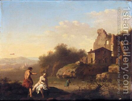 A Southern Landscape With Two Figures Bathing Near Ruins by Cornelis Van Poelenburgh - Reproduction Oil Painting