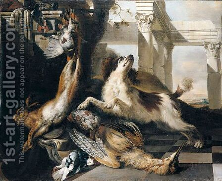 Still Life Of A Spaniel Guarding A Bittern, Partridge, Hare And A Pigeon, Together With Hunting Equipment, Arranged Within A Classical Setting by Jan Baptist Weenix - Reproduction Oil Painting