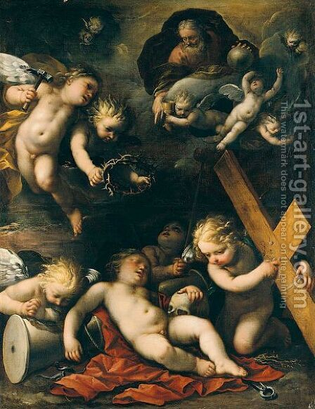 The Sleeping Christ Child, God The Father, And Putti With The Instruments Of The Passion by Carlo Francesco Nuvolone - Reproduction Oil Painting