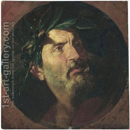 Study Of The Head Of An Old Man Crowned With Laurel, Probably A Poet by (after) Andrea De Lione - Reproduction Oil Painting