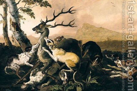 Hounds Attacking A Stag by Abraham Danielsz Hondius - Reproduction Oil Painting