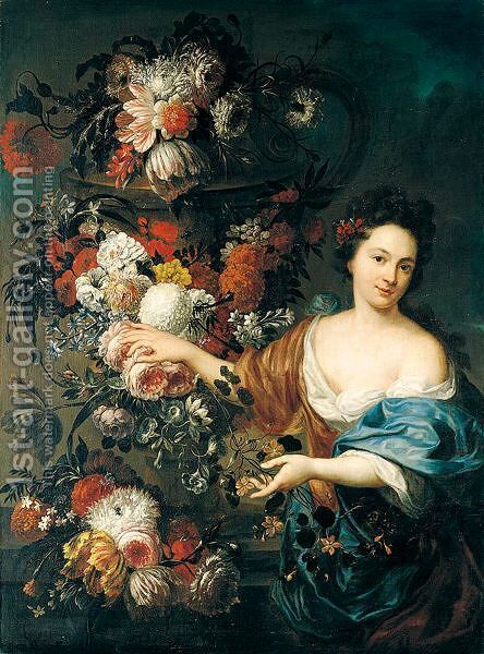 A Still Life Of Roses, Hyacinths, Tulips, Morning Glory, And Chrysanthemums Adorning A Stone Urn And Ledge, Together With A Young Woman by Jan-baptist Bosschaert - Reproduction Oil Painting