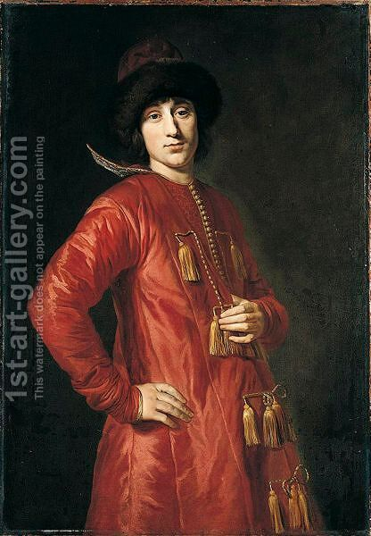 Portrait Of A Man, Said To Be Prince Alexander Benedikt Stanislaus Sobieski (1677-1714), Three-Quarter Length Standing, Wearing Polish Costume by (after) Johann Kupezky Or Kupetzky - Reproduction Oil Painting