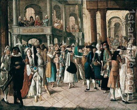 The Interior Of A Church At Carnival Time by (after) Antoine De Favray - Reproduction Oil Painting